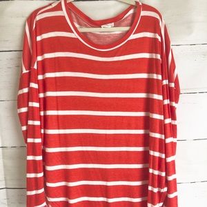 FANTASTIC FAWN Reddish-Orange/Wh Striped Tunic